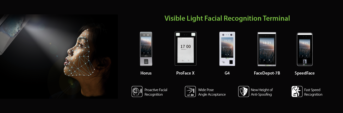 Biometric attendance systems visible light facial recognition terminal